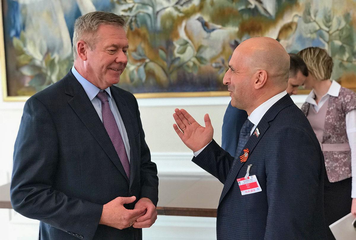 Геннадий Гатилов и Николай Земцов на приеме в Постпредстве РФ при ООН в Женеве