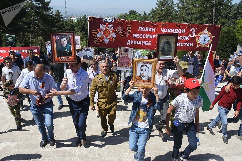 Бессмертный полк в Душанбе (Таджикистан), 2018 год
