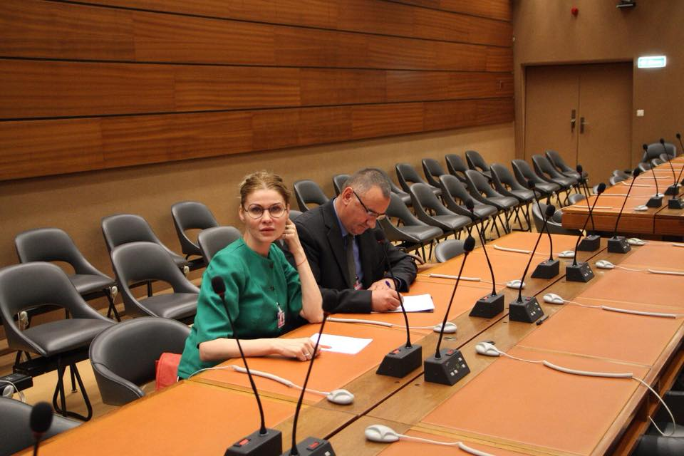 Анна Захарян (Смирнова) и Ежи Тыц в Женеве на международной Конференции против нацизма